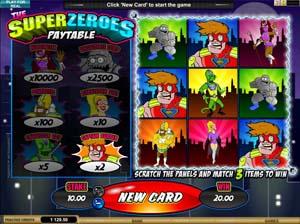 Online Scratch Card Game Super Zeroes at WildJackCasino.com