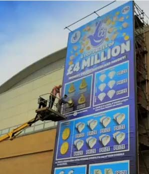 UK Lottery Creates Giant Replica of £4 Million Scratch Card