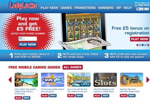 LadyLucks Mobile Casino – £5 Free